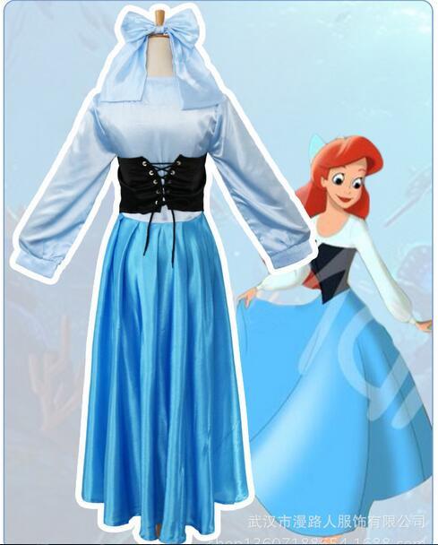 Fantasía De Halloween Mujeres Adultos Princesa Ariel Vestido La Sirenita Ariel Disfraz Azul Vestido