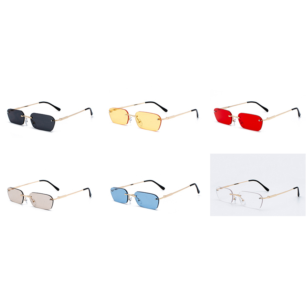 Peekaboo rimless rectangle sunglasses women clear color 2019 summer accessories square sun glasses for men small size uv400 5
