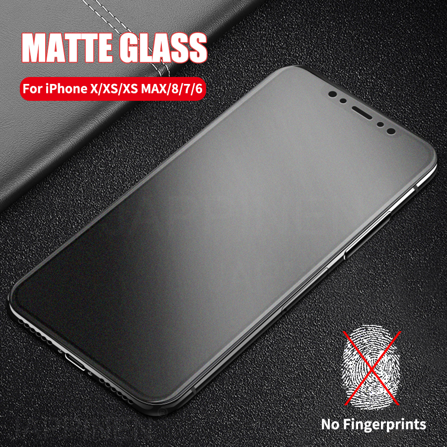 Matte Frosted Tempered Glass For iPhone X XS Max Full Cover Screen Protector 8 7 6 6s Plus Film