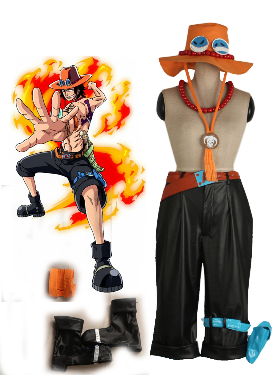 One piece Portgas D Ace Cosplay Costume pants+leg bag+belt+hat+necklace+armcover+shoe cover