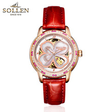 SOLLEN brand Women Flowers Watch 2017 New Ladies casual Wristwatch Waterproof red ruby Automatic Mechanical Watch montres femmes