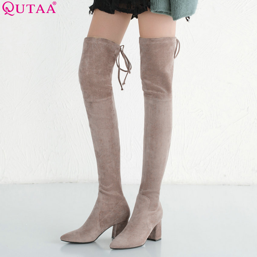 цена на QUTAA 2019 Women Over The Knee High Boots Square High Heel Pointed Toe Platform Zipper Winter Boots Women Boots Big Size 34-39