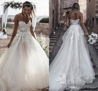 2019 Beach Wedding Dresses Sweetheart Lace Appliques Princess Backless Bridal Gowns Backless Country Boho A Line Wedding Dress