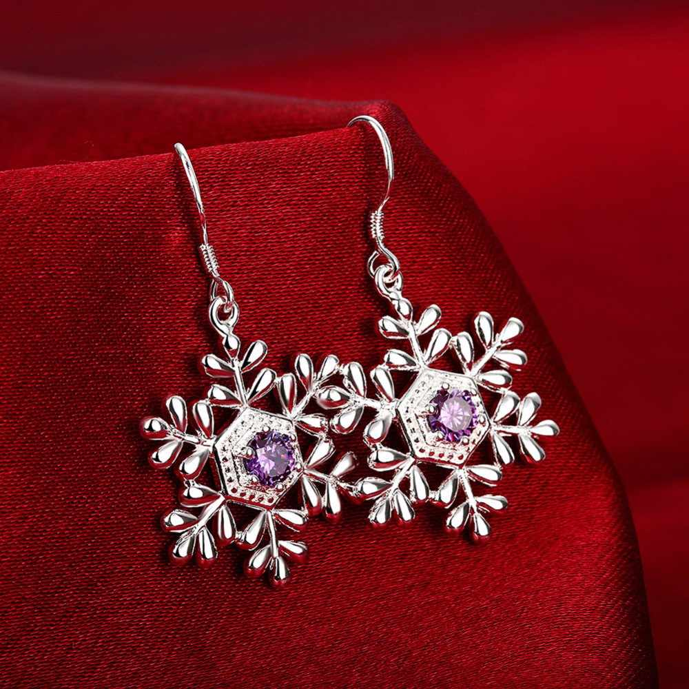 Todorova Korean Fashion Purple Crystal Women Earrings Metal Rhinestone Snowflake Hanging Earrings Wedding Engagement Jewelry