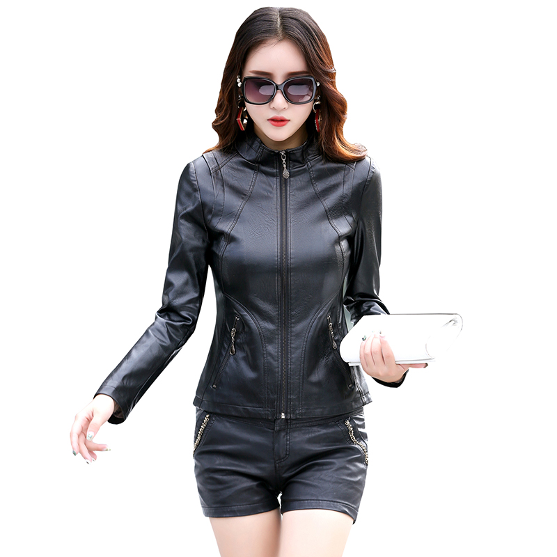 Jaqueta Couro Sale Full Plus Size   Leather   Jacket Women Spring Autumn 2019 New Coat Slim Motorcycle Clothing Female Outerwear