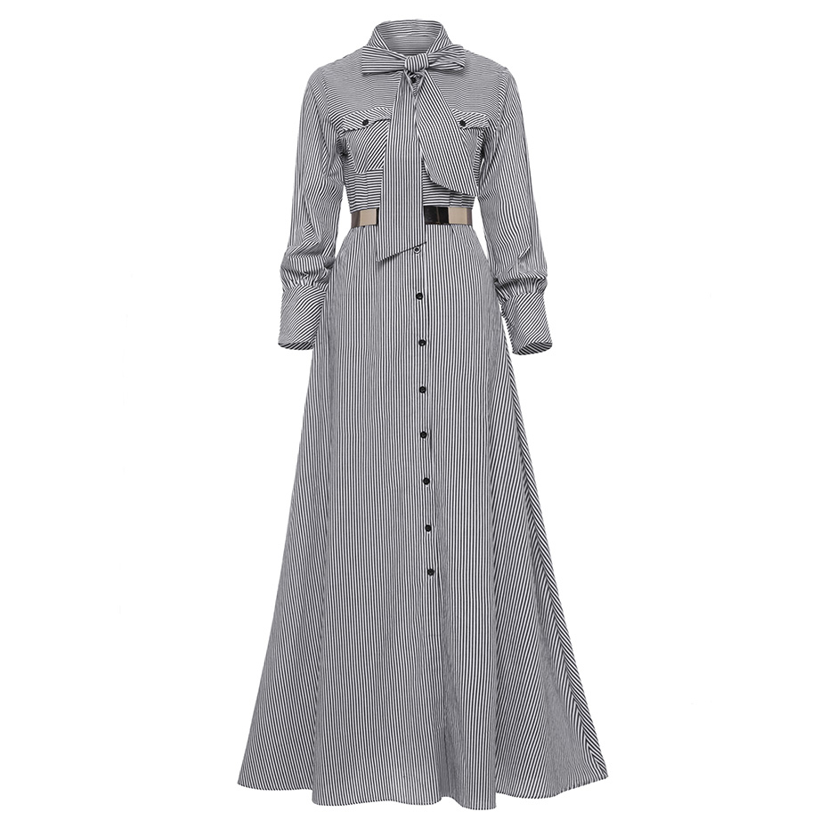 Women Striped Maxi Dress Floor-length Bowknot Tie Long Sleeve Loose Button Dress Autumn Pocket Elegant A-line Casual Long Dress