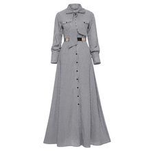цена на Women Striped Maxi Dress Floor-length Bowknot Tie Long Sleeve Loose Button Dress Autumn Pocket Elegant A-line Casual Long Dress
