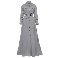 Women Striped Maxi Dress Floor length Bowknot Tie Long Sleeve Loose Button Dress Spring Pocket Elegant A line Casual Long Dress