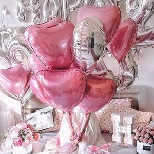 Image 4 - 15 pièces/lot 18 pouces or argent rouge coeur amour ballon couleur Pure feuille dhélium ballon pour mariage fête danniversaire décoration fournitures