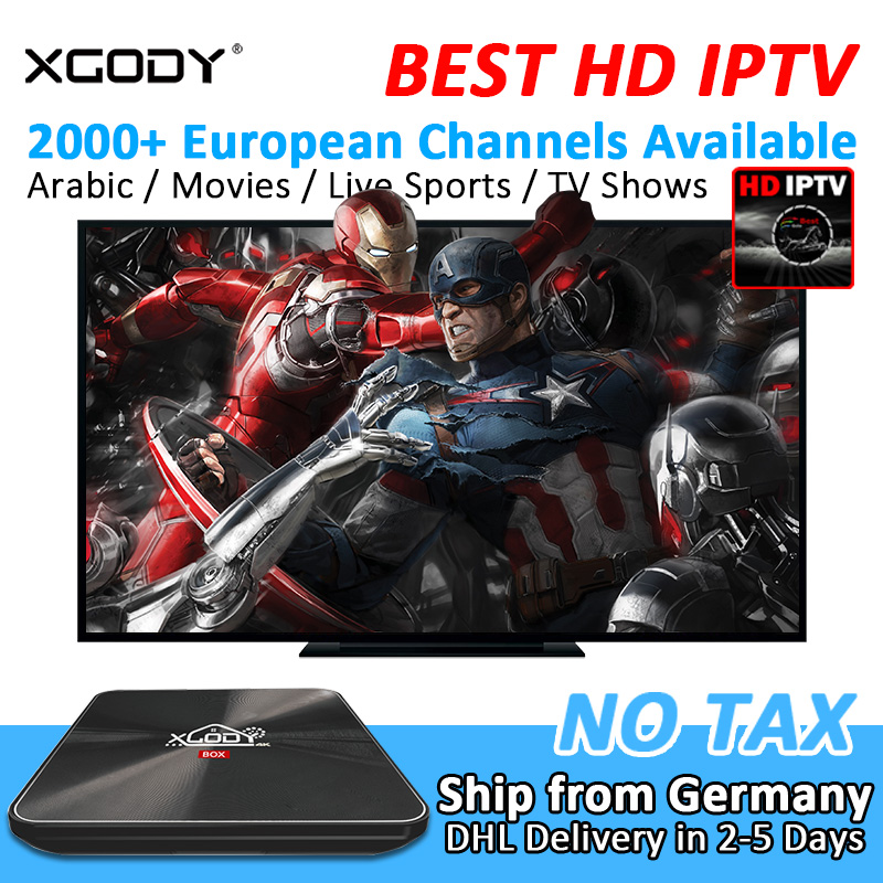 XGODY S10 Arabic IPTV 2000+ Channels Smart TV Box Android 7.1 Amlogic S912 Octa Core 3G DDR4 RAM 32G Kodi Meida Player Streamer