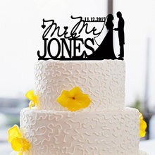 Modern Design Cake Topper For Bride And Groom Date And Name Custom Cake Decorating Tools Custom