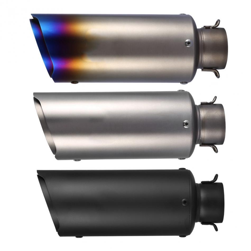 Motorcycle Exhaust Muffler 3 Colors Motorcycle Oblique Universal 51mm Slip on Exhaust Muffler Rear Pipe Tailpipe Titanium