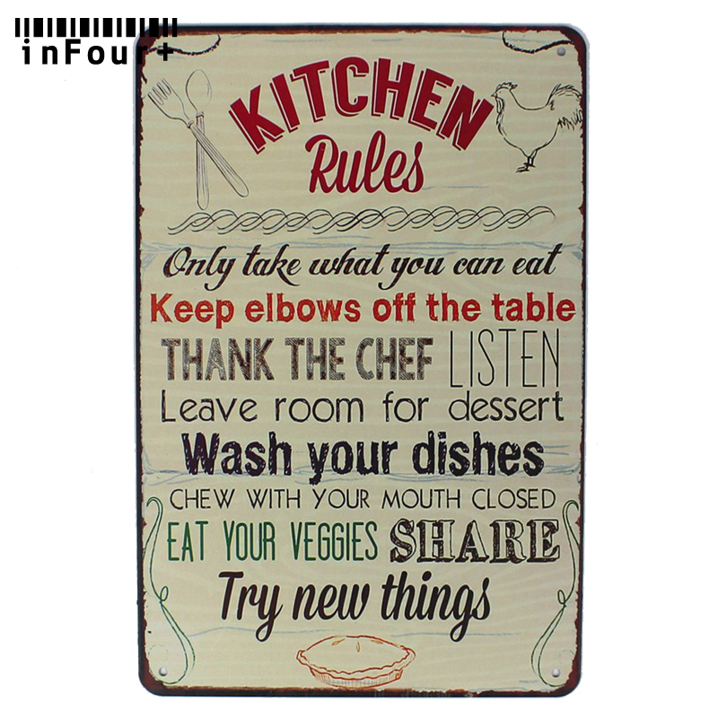 Kitchen Rules Bar Cafe House Wall Decor Metal Sign Vintage