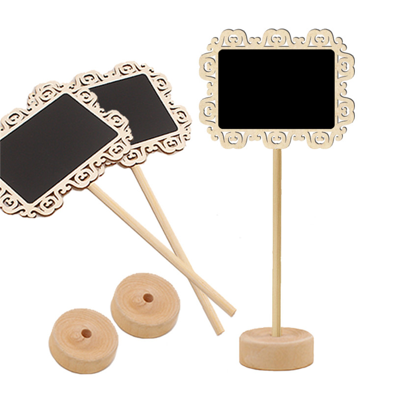 5pcs/lot  Hollowed Square Lace Blackboard Mini Wedding Party Decor Wood Blackboard Memo Message Board