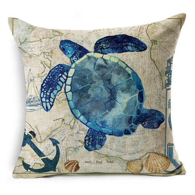 Vintage Style Sea World Cushion Cover 5