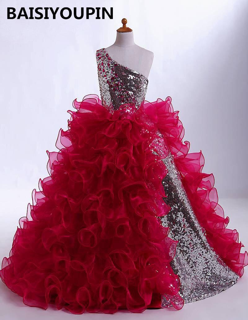 Communion   Dresses   2019 Vestido De Daminha Ball Gown   Flower     Girl     Dresses   One Shoulder   Girls   Pageant   Dresses