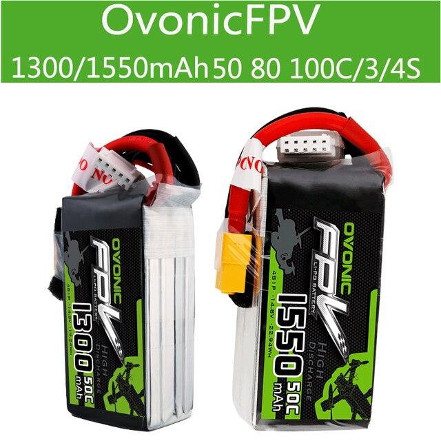 Ovonic High Rate แบตเตอรี่ 1300/1550 MAh3 4S 50 80 100C ผ่าน FPV แบตเตอรี่ลิเธียม
