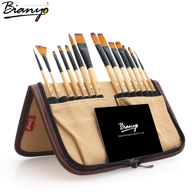 цена на  14pcs paint brushes set acrylic watercolor brushes with pencil case for school artists painting drawing
