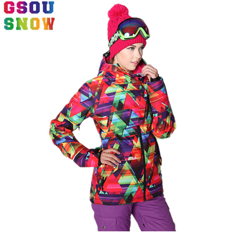 где купить GSOU SNOW Ski Jacket Women Winter Waterproof Snowboard Jacket Plus Size Outdoor Cheap Ski Suit Outdoor Female Warm Sport Coat по лучшей цене