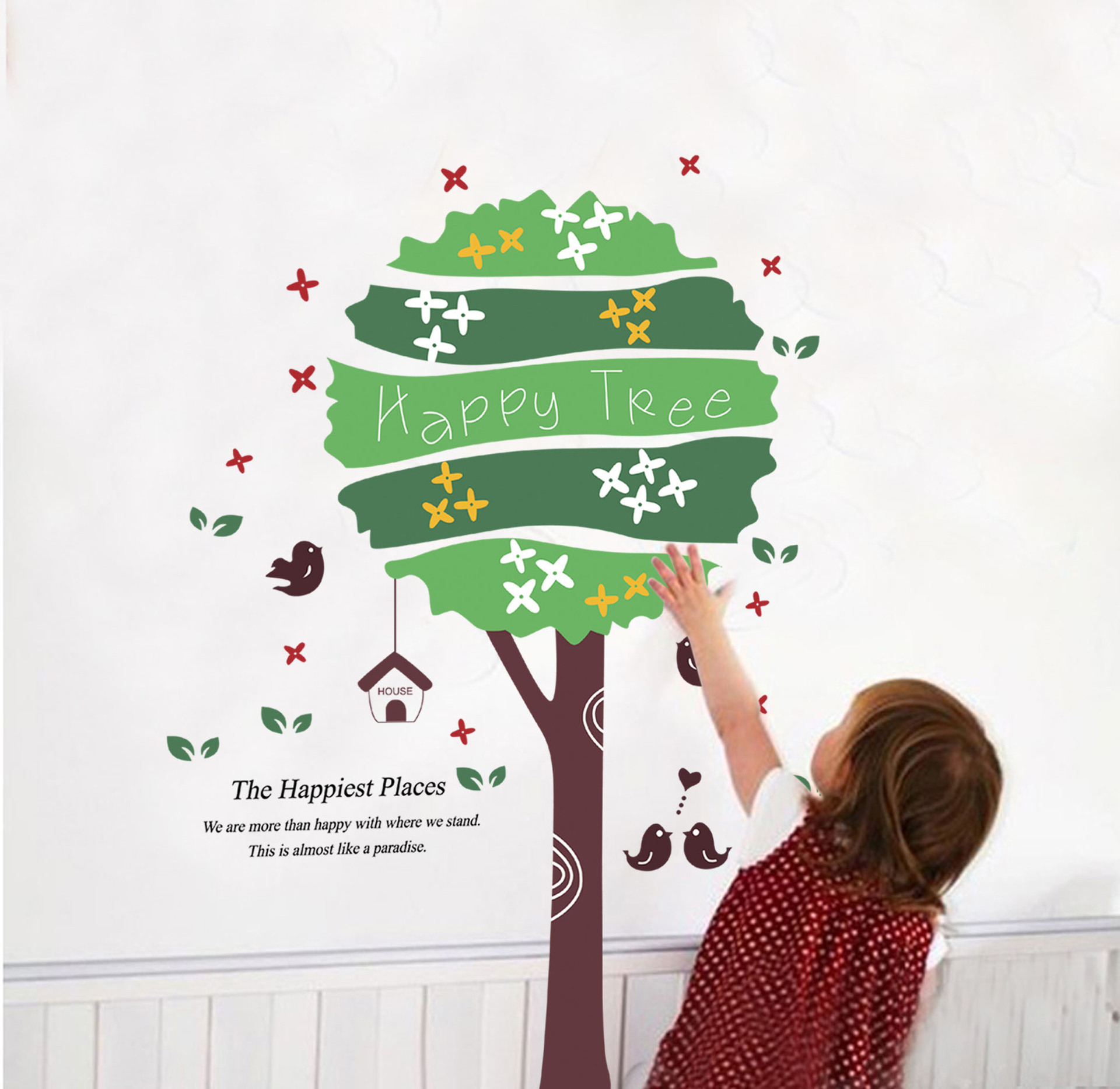 Happy tree third generation of removable wall stickers - Cheap wall decals for living room ...