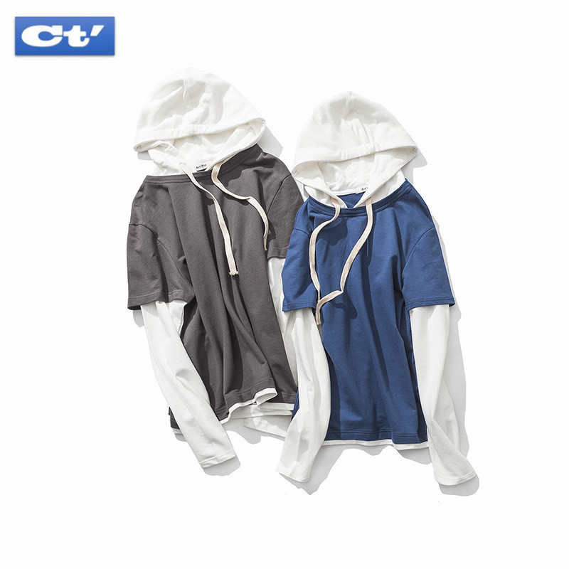Hip Hop Hoodies for Men 2018 Spring Japanese Cotton Sweatshirts Men Faux Two Pieces Casual Hooded Pullovers Man Loose Sweatshirt