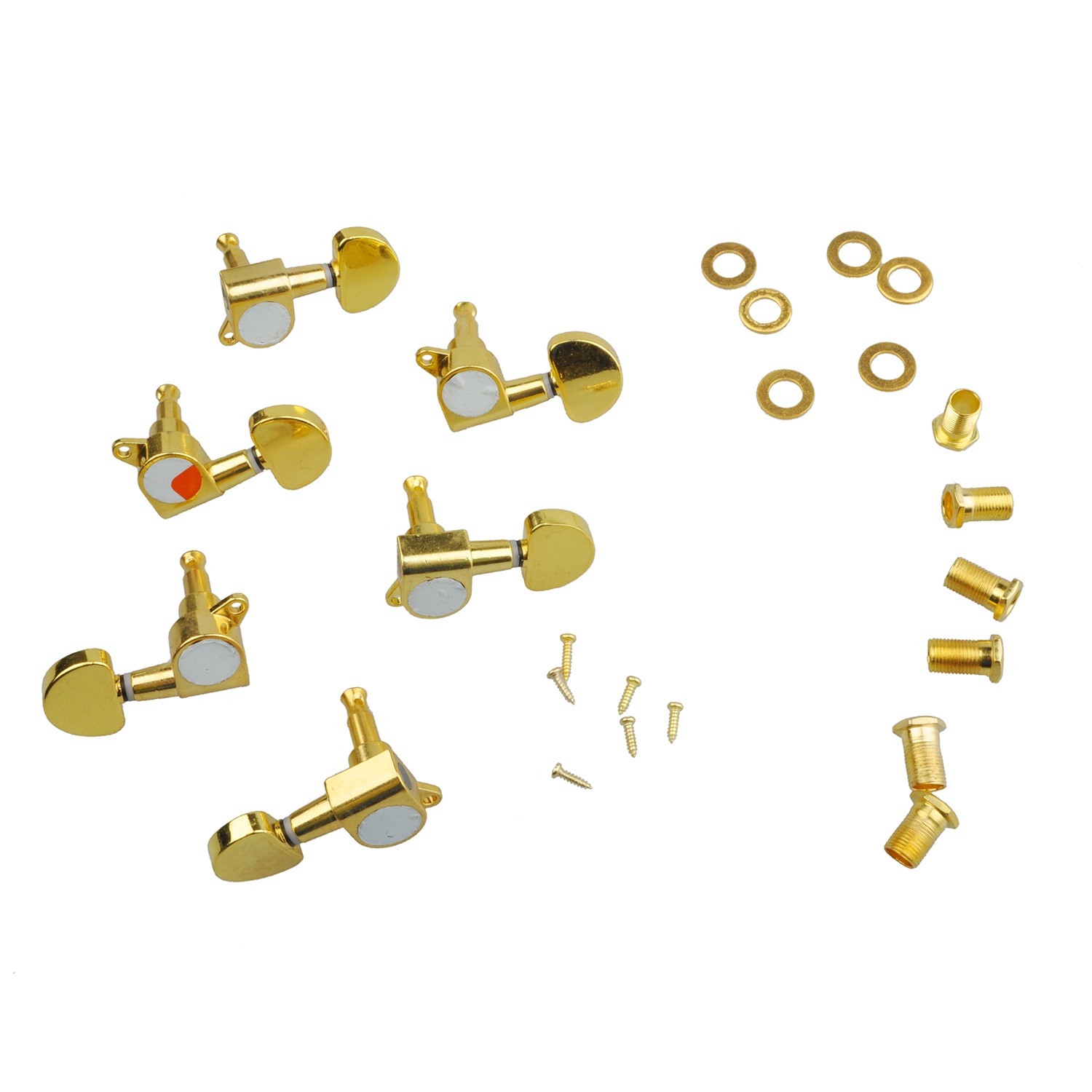 Wholesale 5X 3 Pairs Sealed Guitar String Tuning Pegs Tuners Machine Heads 3L + 3R Gold / Steel and Zinc Alloy Gold Guitar Heads high quality 18pcs set cosmetic makeup brush foundation powder eyeliner professional brushes tool with roll up leather case