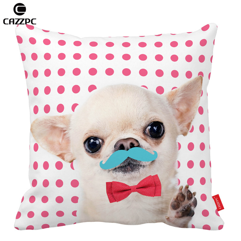 Pink Dot cute Chihuahua dog moustache Red Bow Tie Car Decorative Pillowcase Pillow cases Cushion Covers Sofa Chair Home Decor