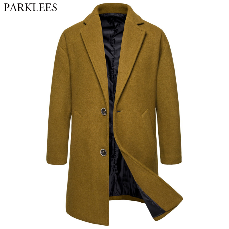 Men's Stylish Camel Wool & Blends Coat 2019 Winter New Single Breasted Mens Long Trench Coat Slim Fit Male Overcoat Windbreaker