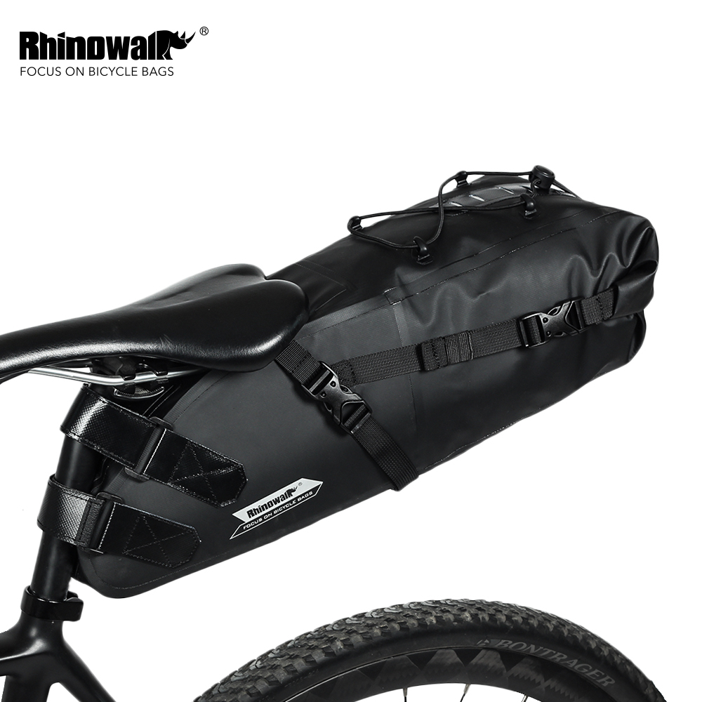 RHINOWALK 10L Full Waterproof Bicycle Saddle Bag Road Mountain Bike Cycling Rear Rack Bag Luggage Pannier Bike Accessories New rhinowalk 10l 100% waterproof bike saddle bag seat bike mountain bike accessories