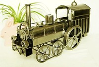 Vintage Train Head Model Metal Iron Simulation Train Model Steam Engine Crafts Decoration Electroplating Craft Decoration