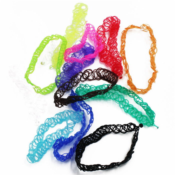13 colors Hot Selling Vintage Stretch Tattoo Choker Necklace Gothic Punk Grunge Henna Elastic with Choker Necklaces (11)