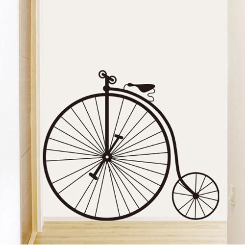 1 set removable pvc decals big wheel bike art wall sticker for Bicycle wheel wall art