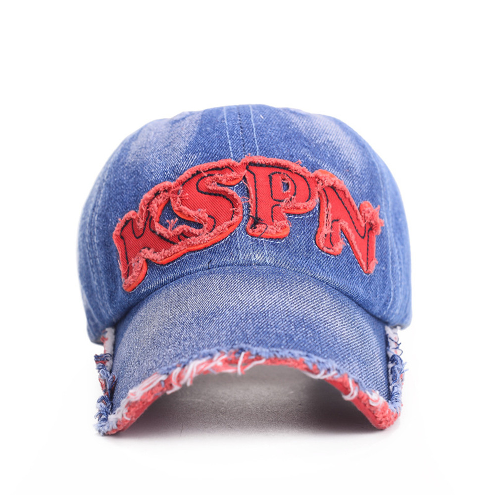 fa663c4066e Men Women cotton KSPN Baseball Cap blue denim jean adult Strapback Hat  Distressed Vintage Outdoor Sports cap for summer spring