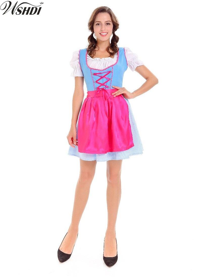 New Fashion Women Oktoberfest Costume Bavarian Beer Girl Maid Uniforms Adult German Beer Maid Dirndl Wench Fancy Dress