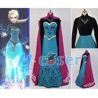 Hot Elsa Costume Coronation Princess Dress Cloak Adult Women Uniform Halloween Party Club Cosplay Costume Full Set