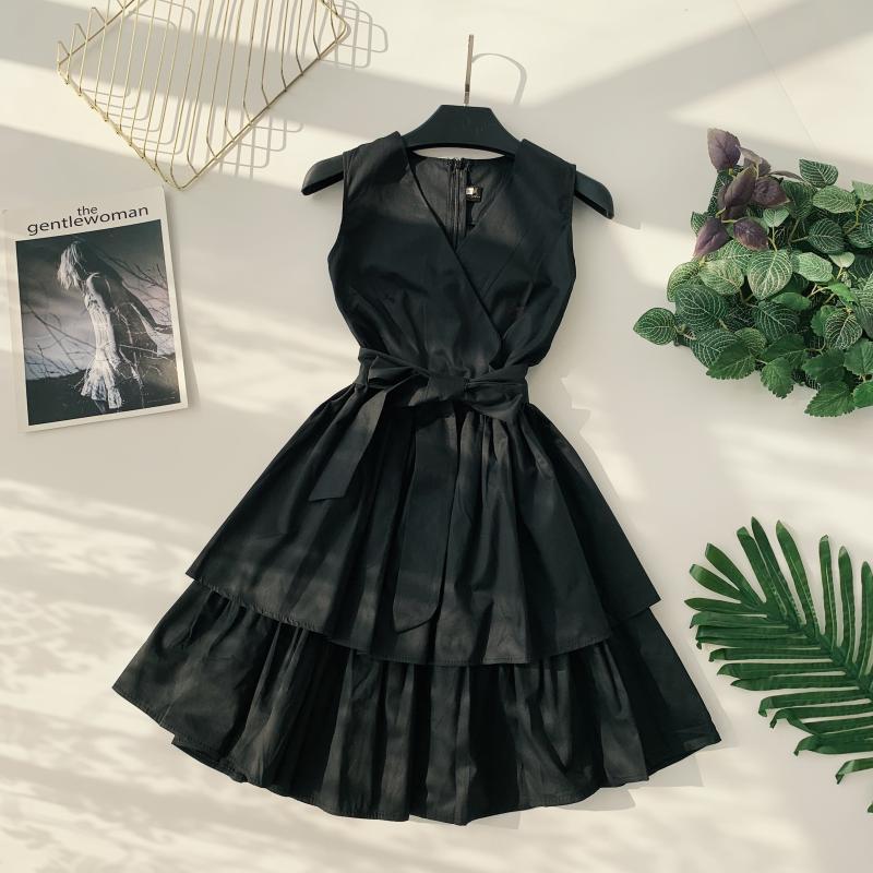 Korean Vintage Pure V Collar Sleeveless High Waist Bow Tie Double Ruffle Holiday Dress Women Vestidos E348 61