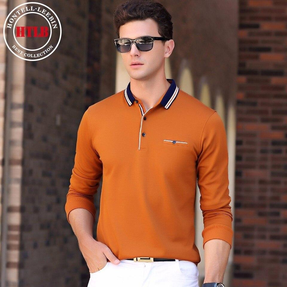 058c5d8544 Ralphmen HTLB Outono dos homens da Marca Camisa Pólo Moda masculina Business  Casual Sólidos Algodão Macio Quente Polo de Manga Longa camisas Dos Homens  em ...