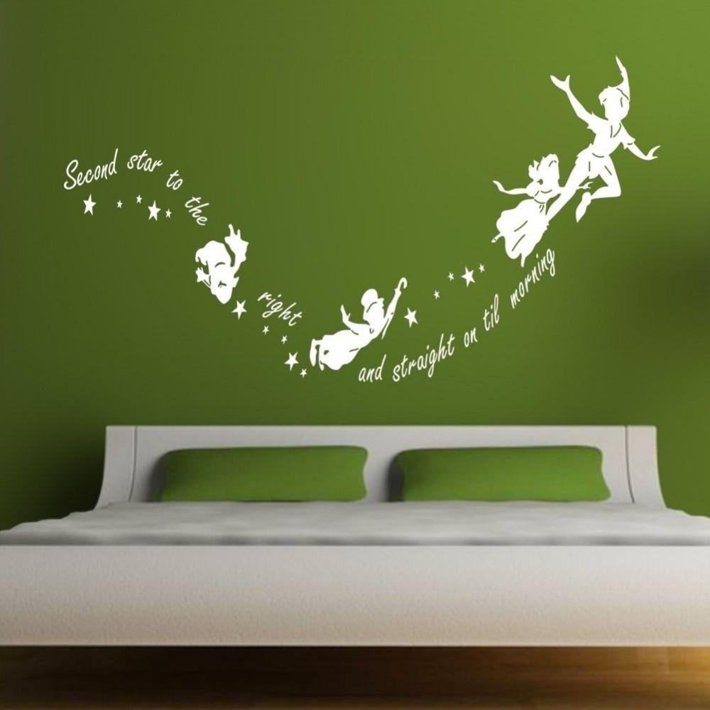 Online Shop Free Shipping Size 55x100cm Peter Pan Tinkerbell Weu0027re Off To  Neverland Wall Decal Wall Sticker Mural Kids Art Home Decoration |  Aliexpress ... Part 41