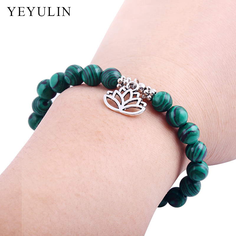 Trendy Natural Stone Beads Bracelet Purple Crystal Chrysocolla Beads With Lotus Flower Charm Bracelet Chakra Jewelry For Woman