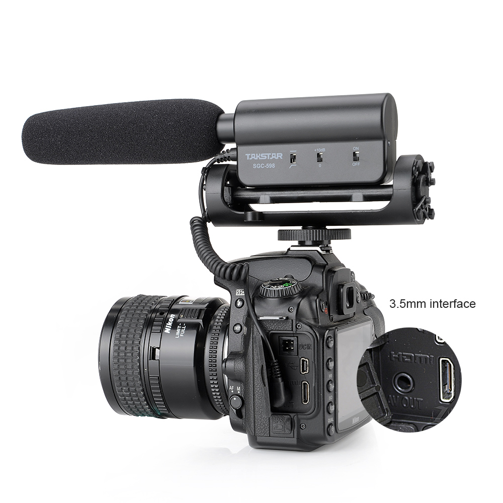 Takstar SGC-598 Photography Interview Lecture Conference Shotgun MIC Microphone for Nikon Canon DSLR Camera P0025716 цена