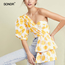 SONDR 2019 Summer printed blouses fashionable bubble sleeves short exposed shoulders irregular hem topless women