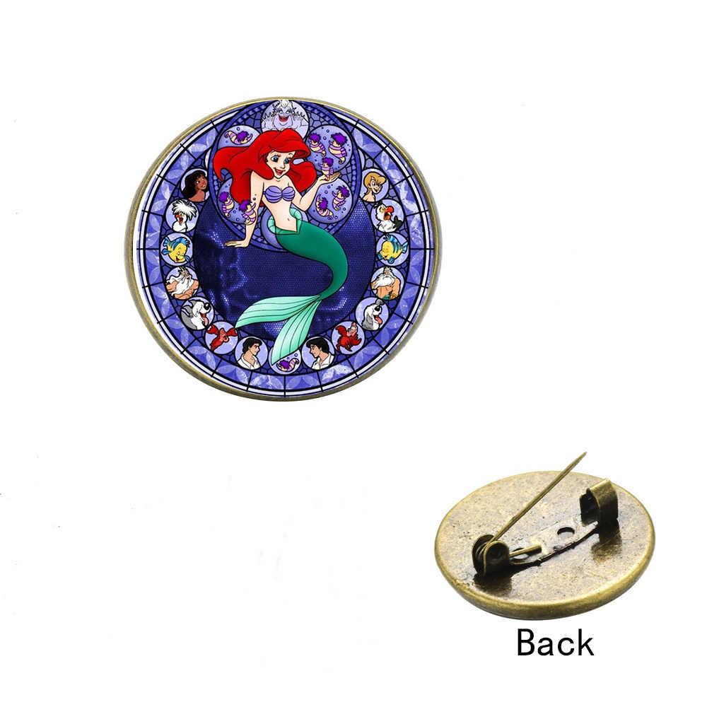 SIAN Dolce Del Fumetto Della Principessa Ariel Spilla Icone Distintivi e Simboli su Zaino La Sirenetta Ariel Tema Stampa di Vetro Cabochon Risvolto Spilli
