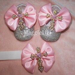 الوردي bowknot مخصص البريق بلينغ بلورات الراين الطفل بنات أحذية الرضع 0-1Y الشريط أحذية الأولى مشوا هيرباند 0032