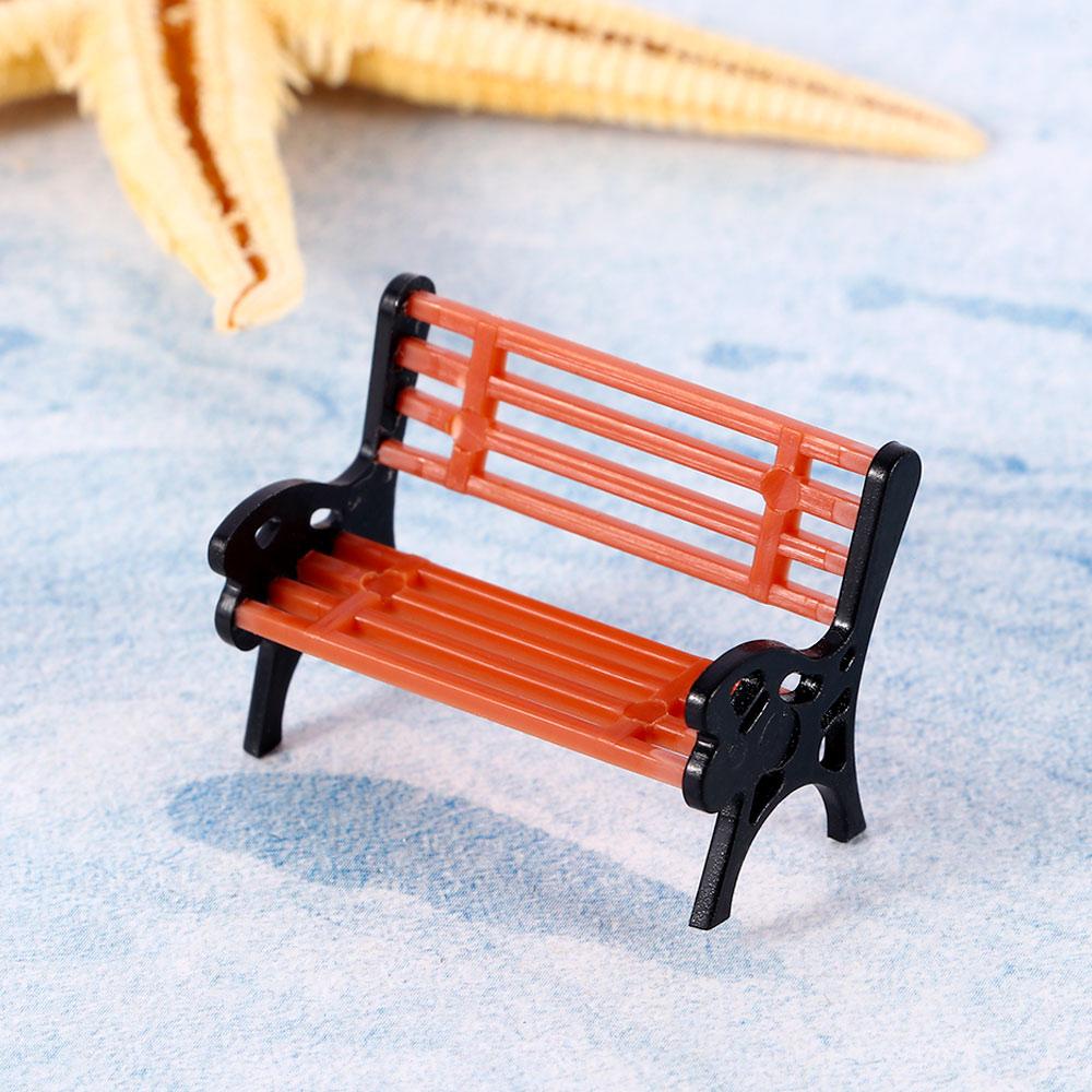 1 Pc Mini Garden Ornament Miniature Park Seat Bench Craft Fairy Dollhouse Decor Micro Home Landscape Ecology Accessories