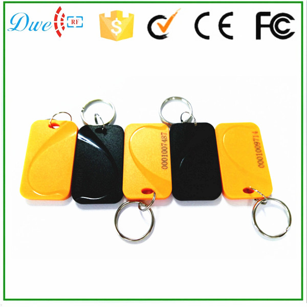 DWE CC RF RFID 125khz black yellow color water-proof key chains tag