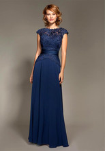 vestido novia Mark Lesley Dark Chiffon Long Formal Maid of Honor evening Party gown Navy Blue Mother Of The Bride Dresses