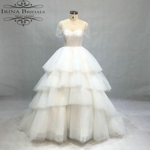 brautkleider hochzeitskleid Cap Sleeve Beads Tiered Ball Gown ...