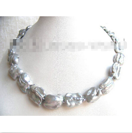 free shipping 20mm gray biwa nautral freshwater pearls necklace b0976^^^@^Noble style Natural Fine jewe () hyperset noble hs6012