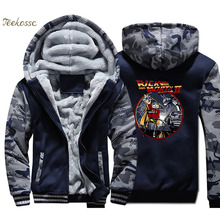 Rick and Morty Hoodie Men Back to Future Hooded Sweatshirt Coat 2018 Winter Warm Fleece Thick Jacket Hip Hop Brand Streetwear
