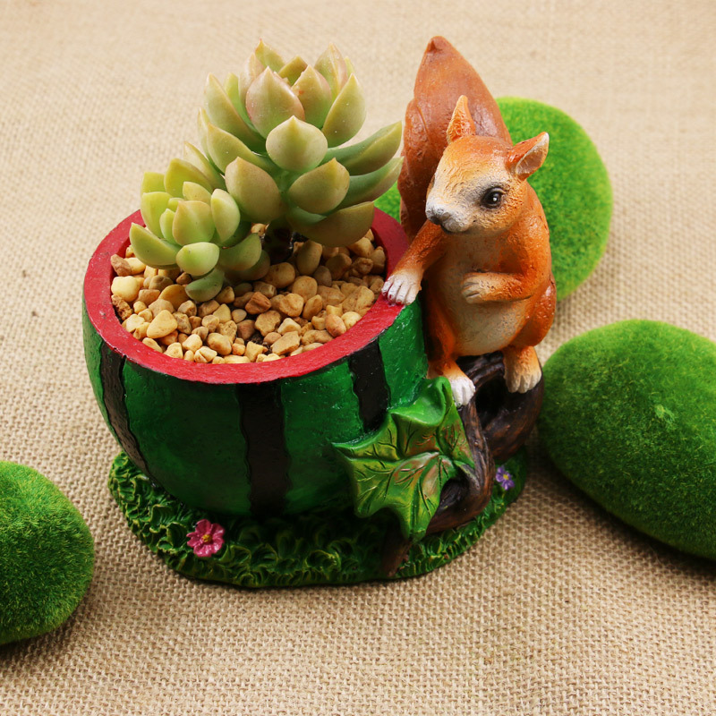 Kawaii Cartoon Adorable Rustic Squirrel And Watermelon Design Plant Flower Pot Succulent Planter In Pots Planters From Home Garden On